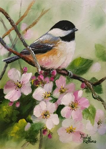 "Daily Paintworks - ""Apple Blossoms 2"" - Original Fine Art for Sale - © Paulie Rollins"