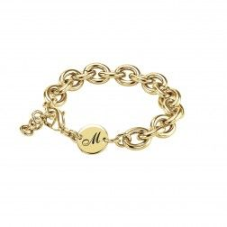 Stainless Steel Yellow Tone Initial Personalized Link Bracelet. $30.00