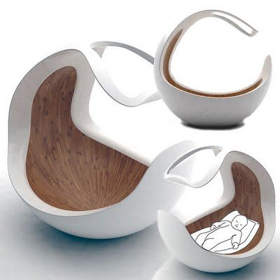 The Baby C Cradle - A Modern Walnut Wood-Lined Womb For Infants. - Very interesting. I've never seen anything like this before.
