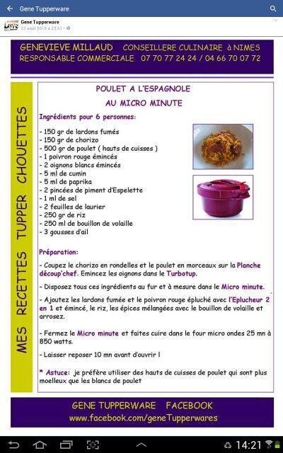 595 best tupper recetas images on pinterest recipes tupperware recipes and microwave oven - Recette cocotte minute tupperware ...