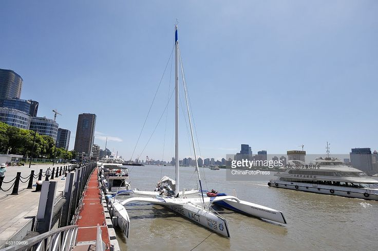 Swiss Scientific Research Trimaran R4WO docks at International Passenger Transport Center of Shanghai Port on August 6, 2015 in Shanghai, China. Swiss Scientific Research Trimaran R4WO set off from Bordeaux, France on March 15, 2015 during the 'Race for Water Odyssey' expedition which aimed to reach the beaches of islands located in the ocean's 5 vortexes of trash, in order to conduct the first global assessment of plastic pollution in oceans, and highlight its consequences on the…