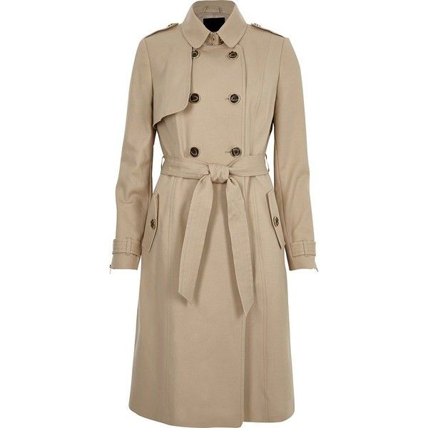 River Island Light beige belted trench coat ($160) ❤ liked on Polyvore featuring outerwear, coats, beige, coats / jackets, women, double breasted coat, double-breasted trench coat, brown double breasted coat, belted trench coat and tall trench coat