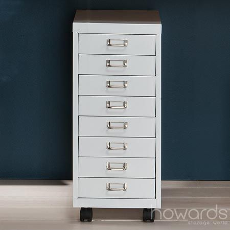 White Metal Trolley with Castors Great for storing stationery and it looks pretty fabulous too. Available from Howards Storage World.