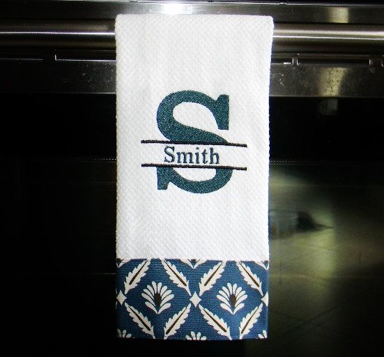 Monogrammed Dish Towel or Hand Towel in Teal Blue by DesignsByThem,