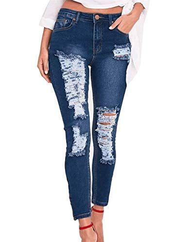 65ce5c4a4b82ef Jeans Femmes Minces Trous Déchirés Pure Couleur Élastiques Pantalon ...
