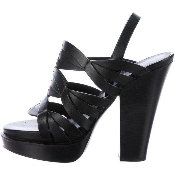 Pre-owned Bottega Veneta Leather Platform Sandals (110 CAD) ❤ liked on Polyvore featuring shoes, sandals, black, black strap shoes, strappy platform sandals, black strappy shoes, black strap sandals and leather sandals