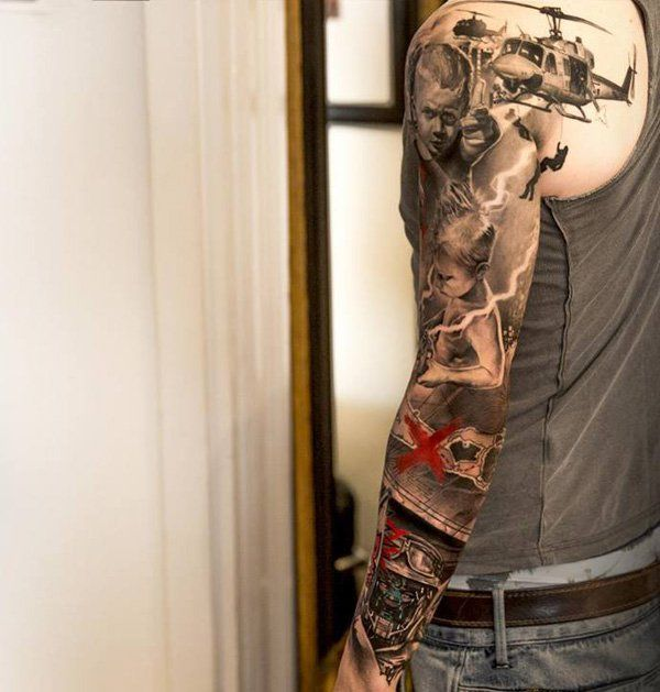 War and child full sleeve tattoo - 80+ Awesome Examples of Full Sleeve Tattoo Ideas | Art and Design
