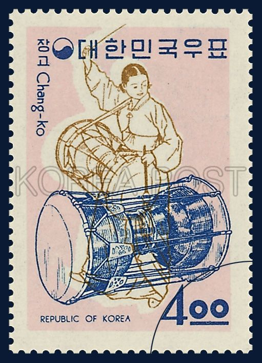 POSTAGE STAMP OF MUSICAL INSTRUMENTS, janggu, traditional culture, moderate red white brown, 1963 12 17, 악기시리즈, 1963년 12월 17일, 382, 장구, postage 우표