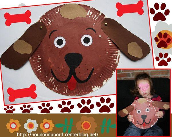 Annalisa a un chien gros à sa maison, donc voici ce qu'ellea réalisé avec l'aide de nounou une jolie tête de chien avec un assiette en carton etses empreintes de pieds pour les oreilles.   ...