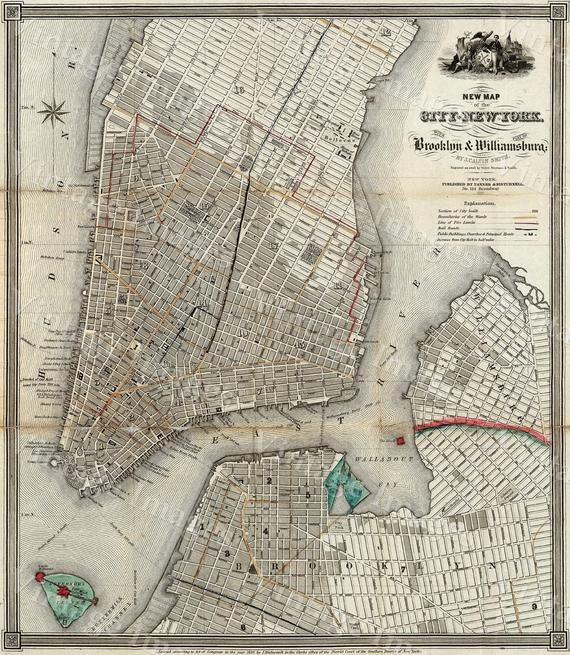 New York Map 1840 Old Map Of New York City Vintage Manhattan Etsy Map Of New York New York City Map Nyc Map