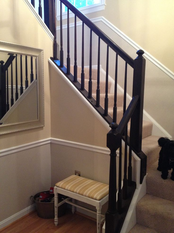 Best Oak Railing Gone Updating House Indoor Railing Staircase Remodel 400 x 300