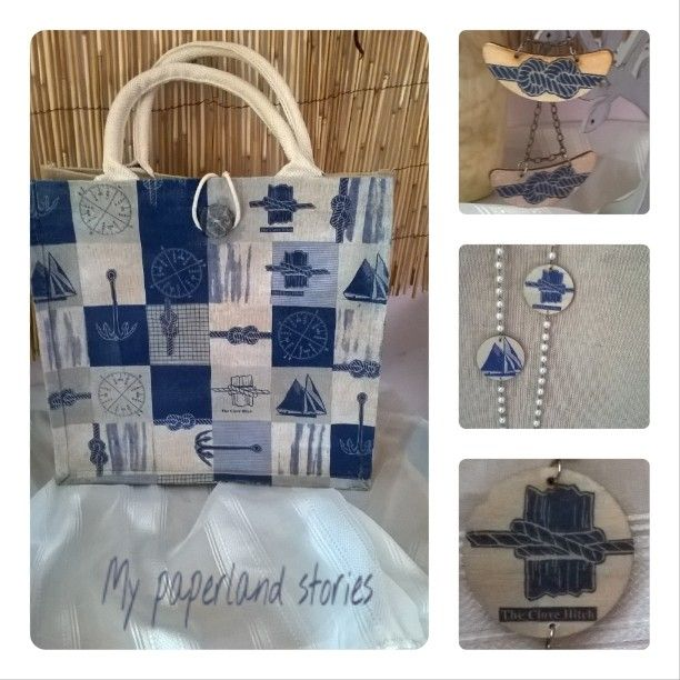 New inspiration + The Clove Hitch!!!! Τσάντα οικολογική απο #jute με θαλασσινά μοτίβα. Σκουλαρίκια + κολιέ!!!!  #yutebag #bag #summer #earrings #necklace #blue #white #navy #navystyle #summerishere #ecobag #ecofriendly #ilovesummer #sun #ilovesea #sea