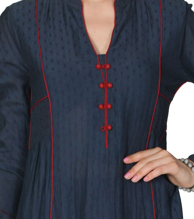 Indigo Blue Viscose Cotton Dobby Seven Dot Flower Kurta Set