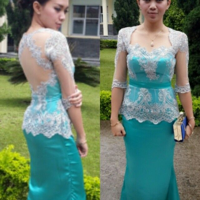 Turqoise Kebaya Dress with lace