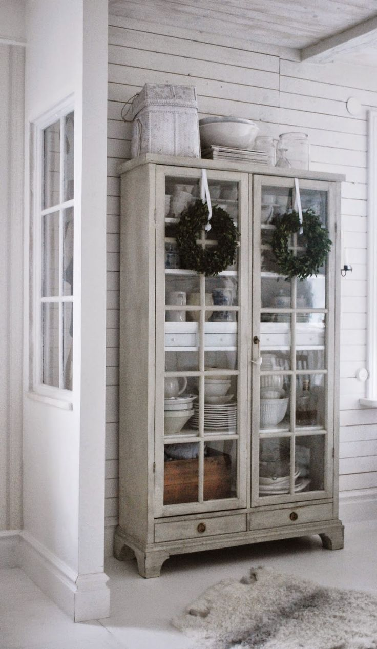 Armoire hutch with glass doors, and those perfect boxwood