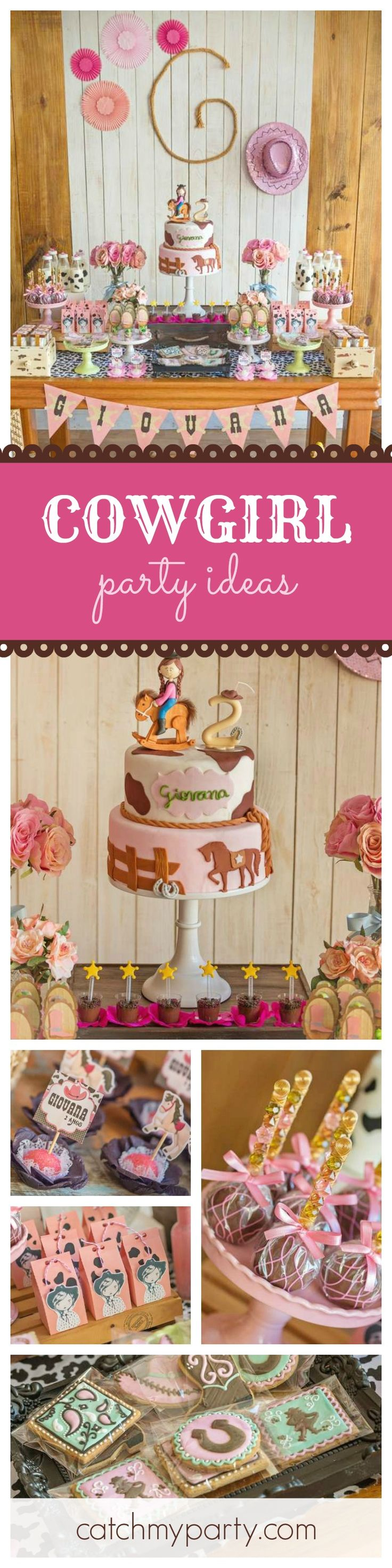 Yeehaw!! This Cowgirl Birthday Party is so much fun! The cookies and birthday cake are so cute! See more party ideas at CatchMyParty.com
