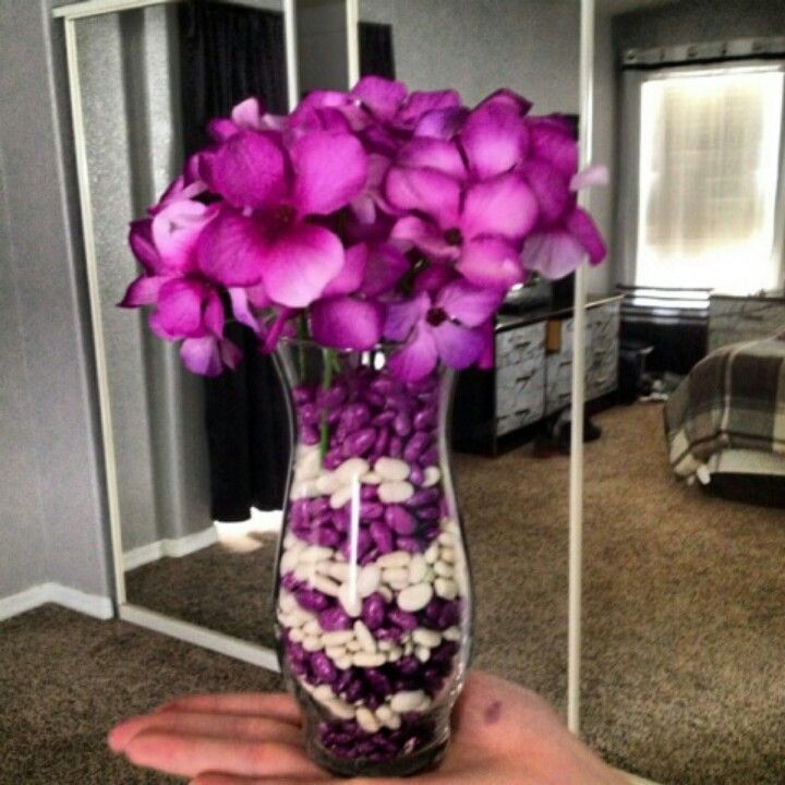 dollar tree glass vase flowers spray paint white beans
