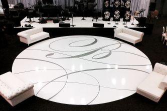 Custom wedding dance floor with monogram