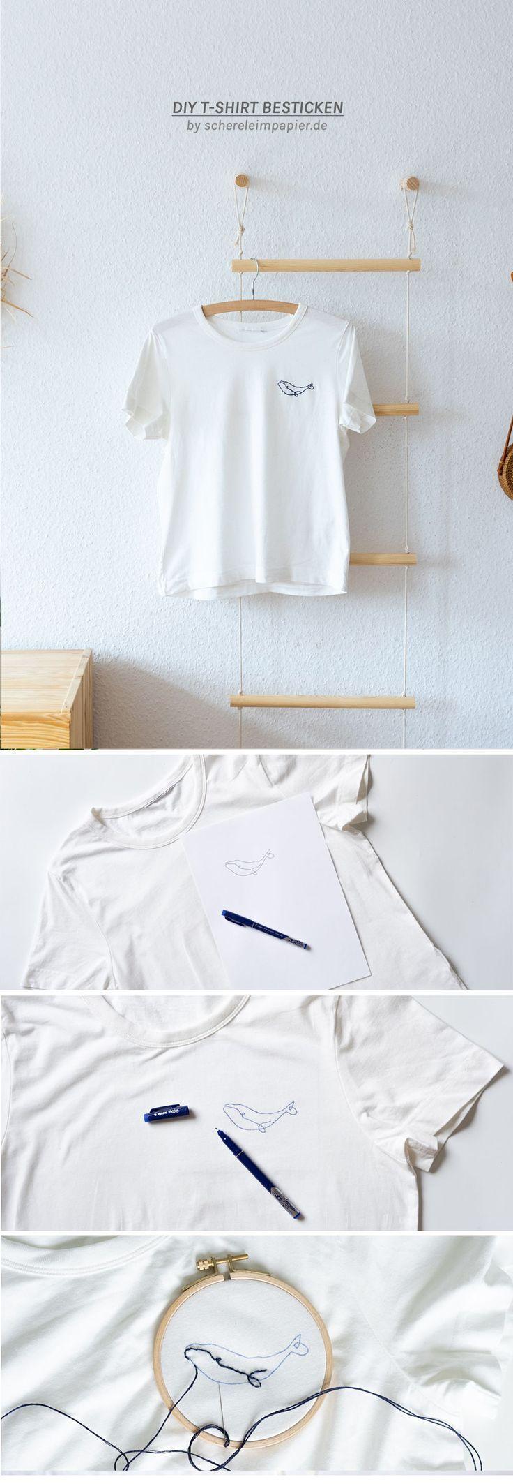 Stickerei: So einfach kann ein einfaches T-Shirt mit sommerlichem Motiv sein …   – DIY Inspirationen