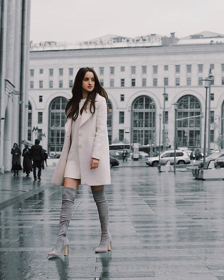 Get this look: http://lb.nu/look/8956616 More looks by Rita Obstetter: http://lb.nu/ritaobstetter Items in this look: Massimo Dutti White Coat, Zara White Dress With Pearls, Lost Ink Grey Over The Knee Boots #chic #elegant #minimal #ootd #outfit #style #fashion #trend #winter