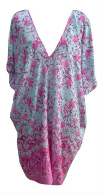 Aqua and Pink Knee length Kaftan www.resortwear.co.nz