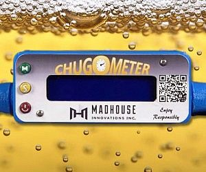 Beer Chugging Flowmeter Settle the age old argument of who can get alcohol poisoning the fastest with help from the beer chugging flowmeter. The flowmeter provides the raw alcohol consumption data you've always wanted to know, like chug time, volume, and beers per minute (BPM).