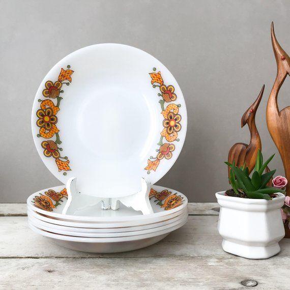 Jenaer Glas SALE Vintage Schott Mainz Retro Orange Floral Six Deep Plates 70/'s German Pyerx Kitchenware