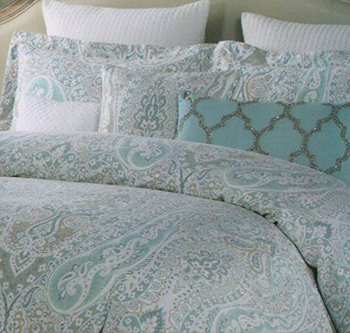 tahari home 3pc king duvet cover set paisley scroll medallion blue beige taupe white luxury cotton