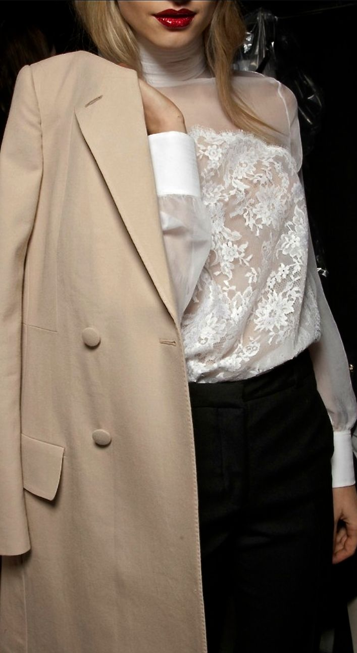 Fall / Winter - business casual - office wear - work outfit - nude light long coat + white chiffon and lace turtleneck blouse + black pants
