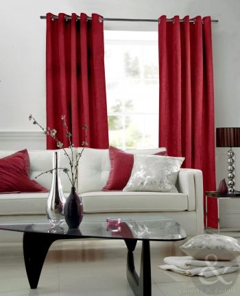 Stunning Red Curtains Living Room Contemporary