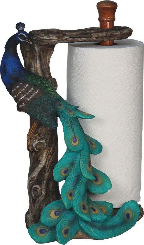 Brand New Peacock Bird Standing Countertop Paper Towel Holder