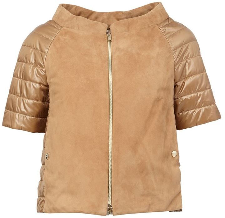 Herno leather panel puffer jacket