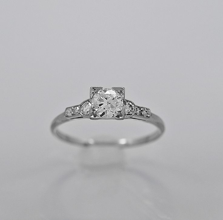 Antique Engagement Ring Bailey, Banks, & Biddle .51ct. Diamond & Platinum - Engagement Rings - Antique Vintage Jewelry