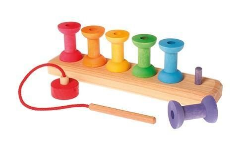 Grimm's Stacking Game Small Rainbow Bobbins – The Creative Toy Shop