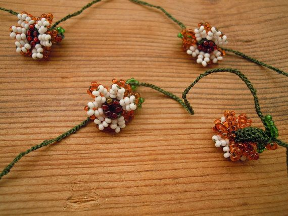 crochet beaded trim beaded flower vintage turkish oya