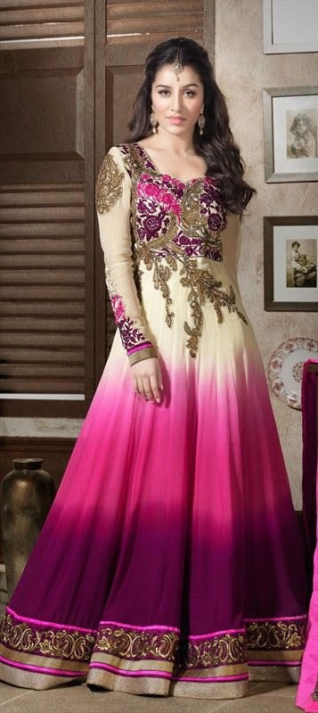 407514: BOLLYWOOD - #Getthislook like #ShraddhaKapoor in OMBRE anarkali