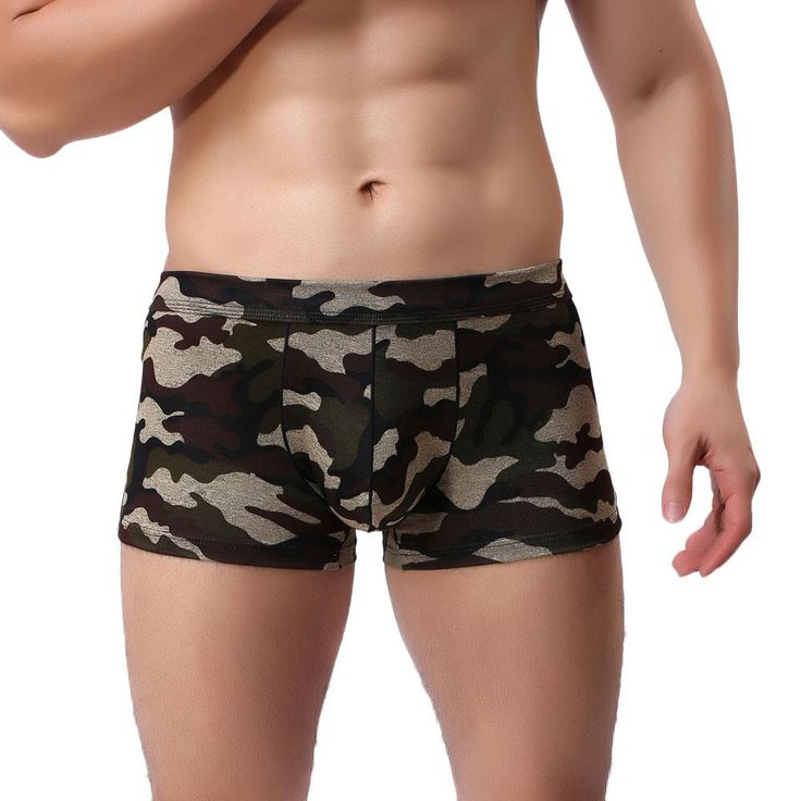 Sexy Mens Camouflage Breathe Underwear Briefs Bulge Pouch Shorts Underpants