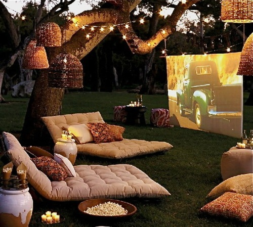 OKAY, so hear me out- 1. We could get a bed sheet 2. Bring my families projector  3. Play a slideshow with pictures of you and Jaden's love and stuff like that.  We could lay out blankets, and hang some candle lanterns, and I could bring my pretty white flowery christmas lights.   Also popcorn.