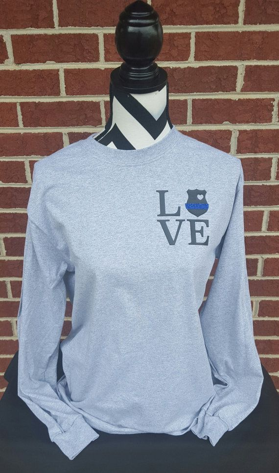 Police Badge Love Long Sleeve Shirt. Police Wife. by ElleQDesigns