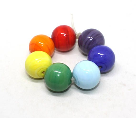 Set of 7 Hollow Blown Beads  16 mm  Red Orange Yellow Green
