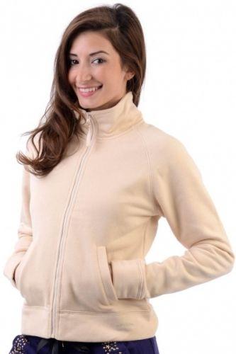 Kremfarget sporty jakke med glidelås foran og høy hals.  Inneholder 75% bomull og 25% polyester.