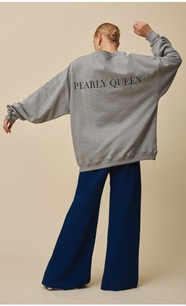 EXCLUSIVE PEARLY QUEEN SWEATSHIRT - made from organic cotton blend jersey, it features the Mother of Pearl logo on the chest and 'Pearly Queens' across the back.   #motherofpearl #pearlyqueens #sweatshirt