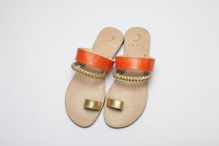 anastasia orange ( handmade leather sandal )