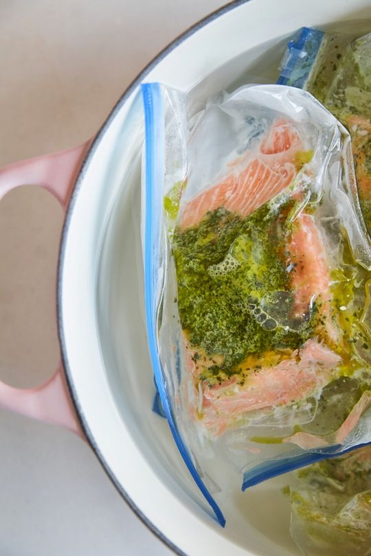 You don't even need a sous-vide to make this SIMPLE Sous-Vide Salmon with Sorrel Butter for your next weeknight dinner. This recipe is so EASY and yet so impressive. If you're just testing the waters of sous-vide and are looking for a beginner recipe, give this a try. You'll need: butter, sorrel, lemon and salmon fillets!