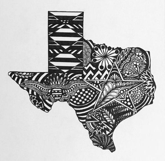 Custom Texas state art.  Hand drawn. Made to order. Pen and ink.  #zentangle #stateart #penandink #art #artwork #hookem #longhorns #lonestar #blackandwhite #illustration #drawing #wallart