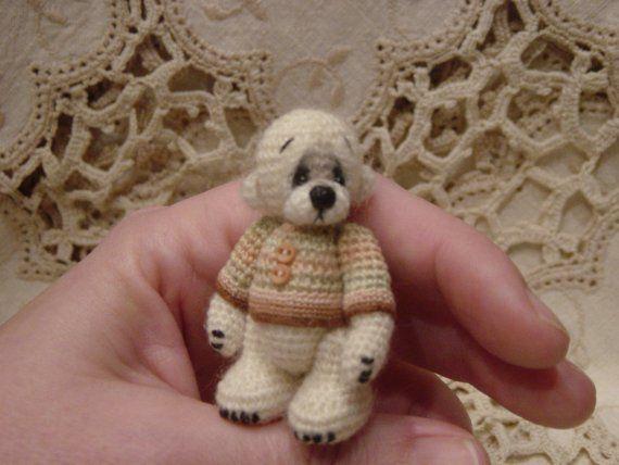 OOAK Artist THrEad crochet Teddy BeAr Mini Miniature