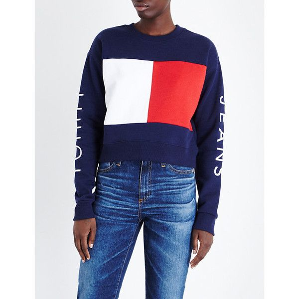 Tommy Hilfiger Brand logo jersey sweatshirt (£94) ❤ liked on Polyvore featuring tops, hoodies, sweatshirts, logo top, logo sweatshirts, jersey top, blue top and boxy sweatshirt