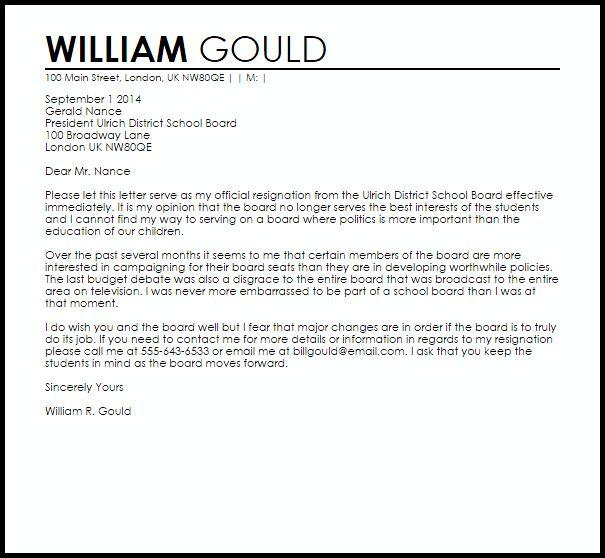 school board resignation letter letters livecareer non profit