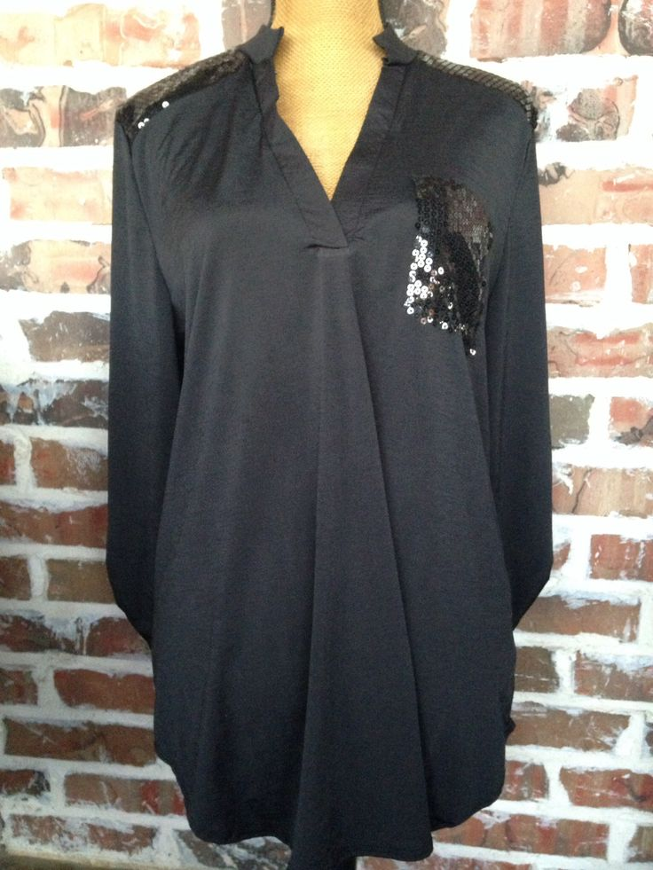 Black Sequin Shirt - Aunt Lillie Bells - 1