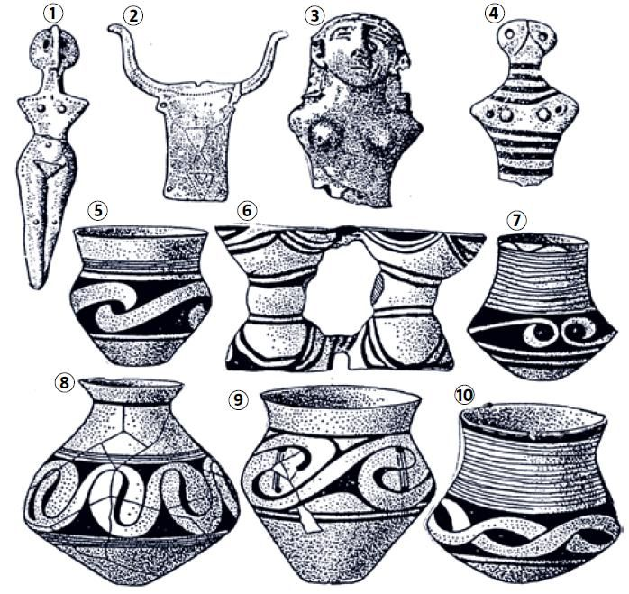 Trypillian culture. Clay figurines (1, 3 and 4), bull's head made of bone (2) and earthenware (5-10)